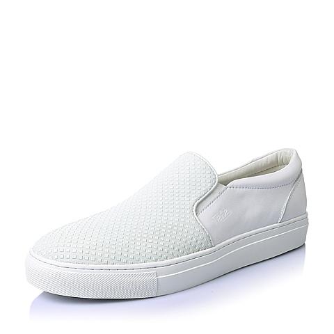 Tata/他她春季白色滴胶羊绒皮革男休闲鞋FBK10AM6
