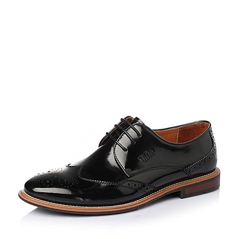 Tata/他她2016春季黑色漆牛皮革男皮鞋E3316AM6