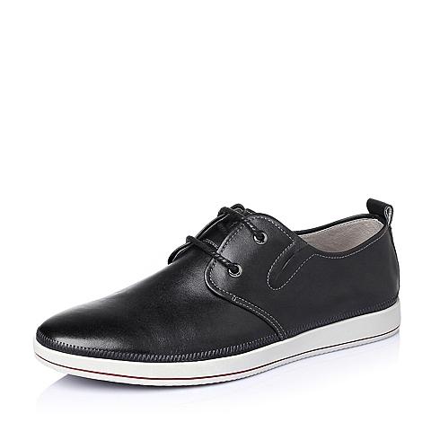 Tata/他她2016春季黑色牛皮革舒适活力男休闲鞋L3315AM6