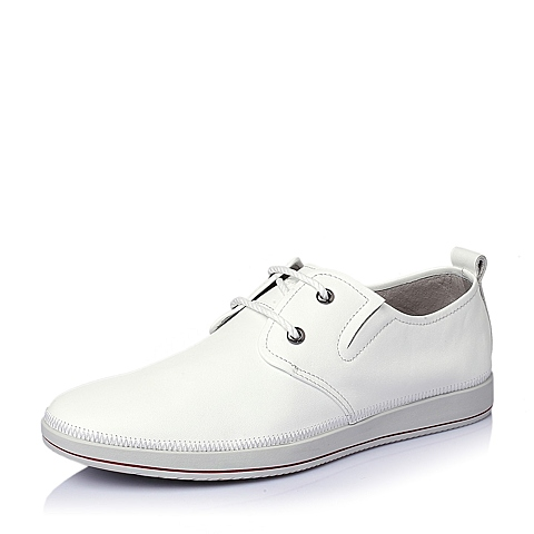 Tata/他她2016春季白色牛皮革舒适活力男休闲鞋L3315AM6