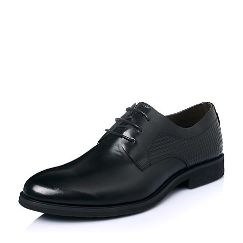 Tata/他她春季黑色时尚商务休闲牛皮革男单鞋F2138AM6