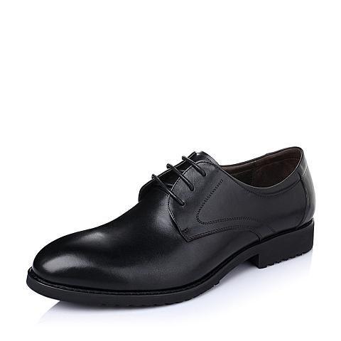 Tata/他她春季黑色时尚商务休闲舒适牛皮革男单鞋F2502AM6