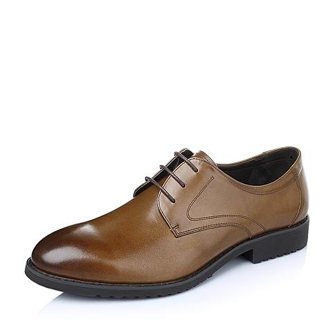 Tata/他她春季棕色时尚商务休闲舒适牛皮革男单鞋F2502AM6