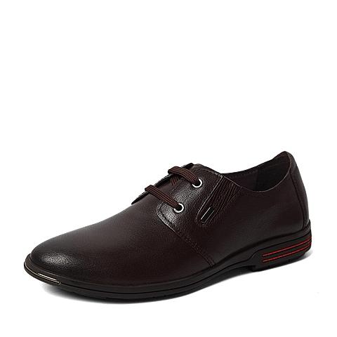 Tata/他她春季专柜同款棕色水牛纹牛皮革男休闲鞋U150DAM6 专柜1