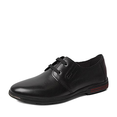 Tata/他她2016春季专柜同款黑色水牛纹牛皮男休闲鞋U150DAM6 专柜1