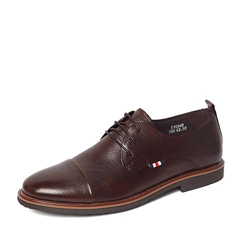Tata/他她春季专柜同款棕色胎水牛皮革男鞋U153DAM6 专柜1