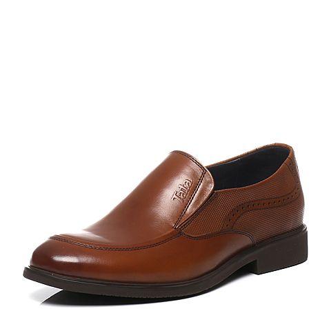 Tata/他她2016春季专柜同款棕色牛皮时尚绅士儒雅男皮鞋U1520AM6 专柜1