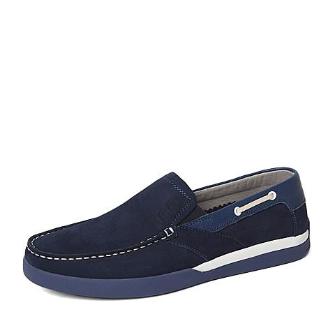 Tata/他她春季专柜同款蓝色头层磨砂/牛皮革男休闲鞋U1543AM6 专柜1