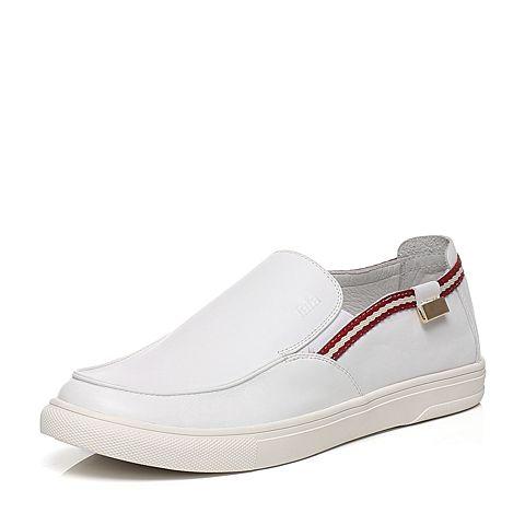 Tata/他她2016春季专柜同款白色牛皮男休闲鞋F6622AM6