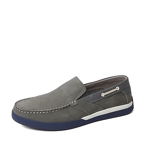 Tata/他她春季专柜同款灰色磨砂牛皮革/牛皮革男休闲鞋U1544AM6 专柜1