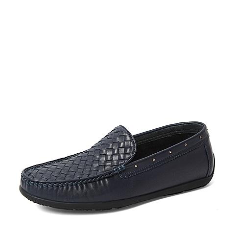 Tata/他她春季专柜同款蓝色牛皮革/编织牛皮革男休闲鞋U1596AM6 专柜1