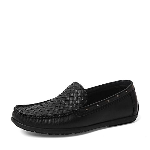 Tata/他她春季专柜同款黑色牛皮革/编织牛皮革男休闲鞋U1597AM6 专柜1