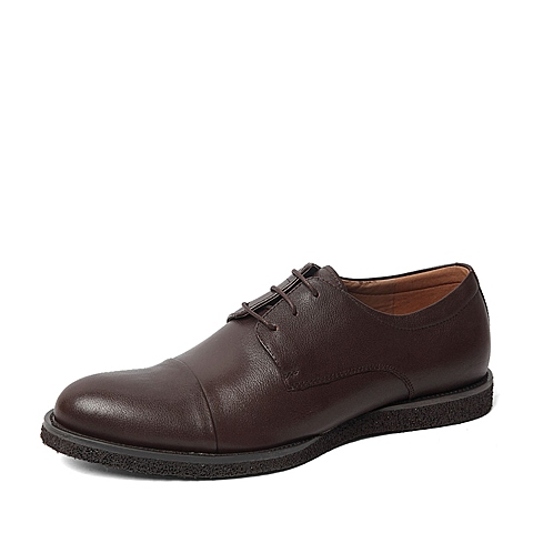 Tata/他她春季专柜同款啡色油蜡牛皮男单鞋F6221AM6 专柜1