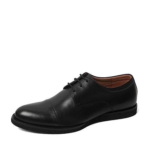 Tata/他她春季专柜同款黑色油蜡牛皮男单鞋F6221AM6 专柜1