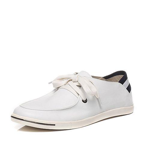 Tata/他她春季专柜同款白色牛皮时尚休闲男单鞋F6922AM6