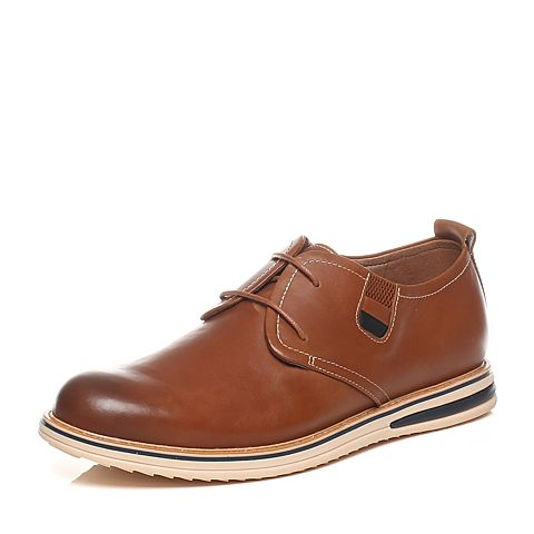 Tata/他她2016春季专柜同款棕色/黑色打蜡牛皮革男皮鞋F7020AM6 专柜1
