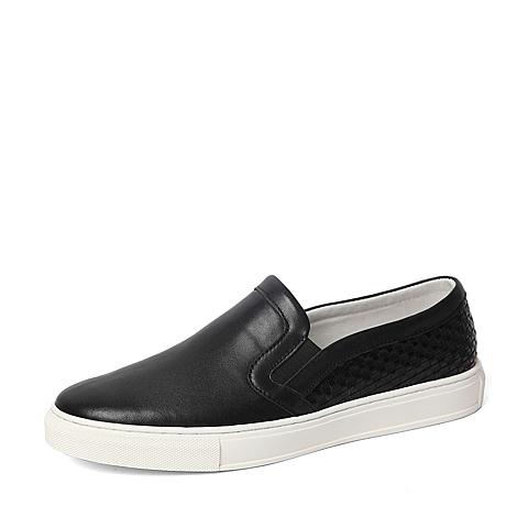 Tata/他她春季专柜同款黑色牛皮/编织牛皮革男鞋U1542AM6 专柜1