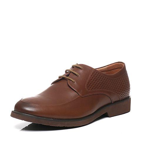 Tata/他她春季专柜同款浅啡打蜡牛皮商务正装男单鞋F2028AM6