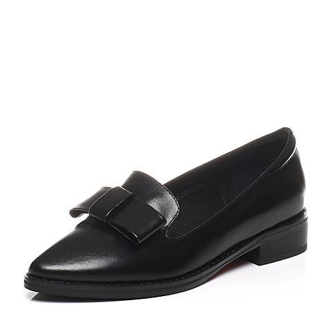 Tata/他她春季专柜同款黑色牛皮蝴蝶结尖头女皮鞋U104DAQ6