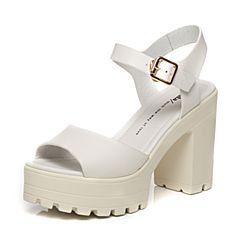 Tata/他她夏季专柜同款白色牛皮时尚水台粗跟女凉鞋2W107BL6