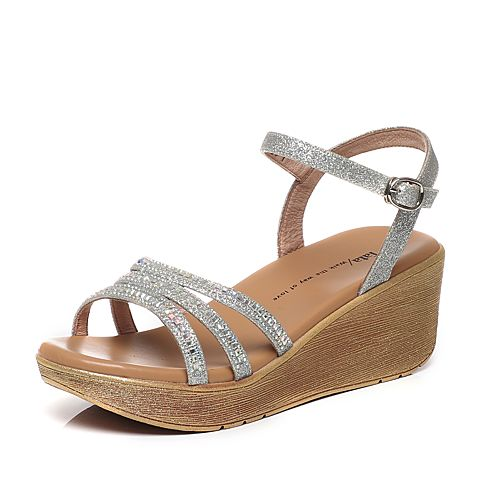 Tata/他她夏季专柜同款银色亮片布水钻坡跟女凉鞋2NTB2BL6