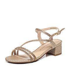 Tata/他她夏季专柜同款黄色亮片布水钻方跟女凉鞋2US08BL6