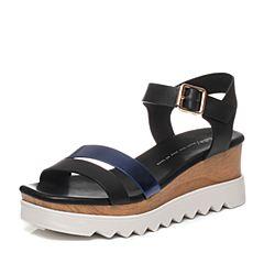 Tata/他她夏季专柜同款女士黑/深兰色时尚女皮凉鞋FA303BL6