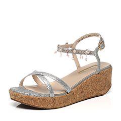 Tata/他她夏季专柜同款银亮片布坡跟女凉鞋2X310BL6