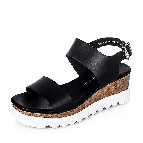 Tata/他她夏季黑色牛皮女凉鞋FA302BL6