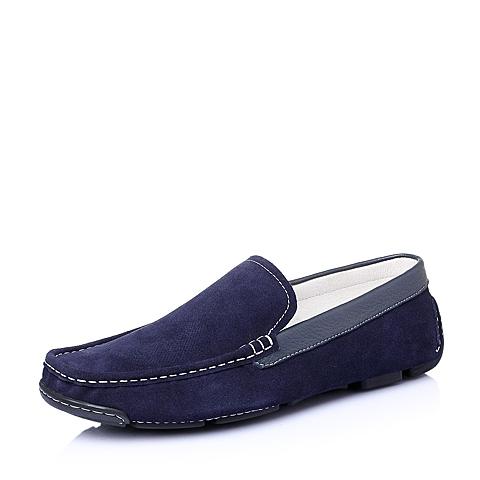 Tata/他她夏季蓝色磨砂牛皮时尚休闲男单鞋B1462BM6
