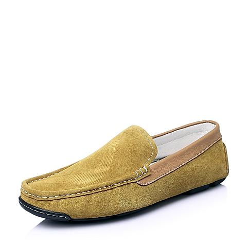 Tata/他她2016夏季黄色磨砂牛皮时尚休闲男单鞋B1462BM6