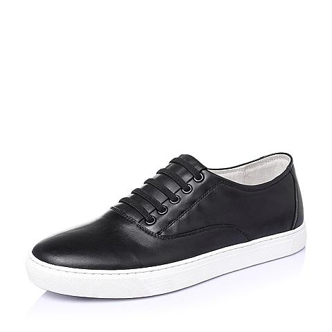 Tata/他她夏季黑色牛皮时尚休闲男单鞋B1232BM6