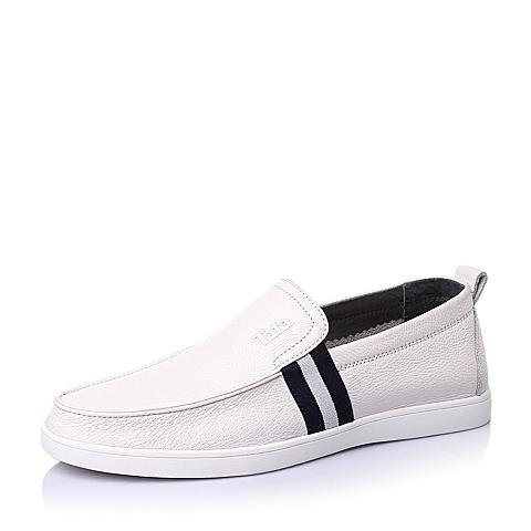 Tata/他她夏季白色牛皮时尚休闲男单鞋S6331BM6