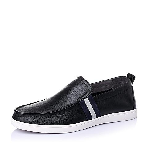 Tata/他她夏季黑色牛皮时尚休闲男单鞋S6331BM6