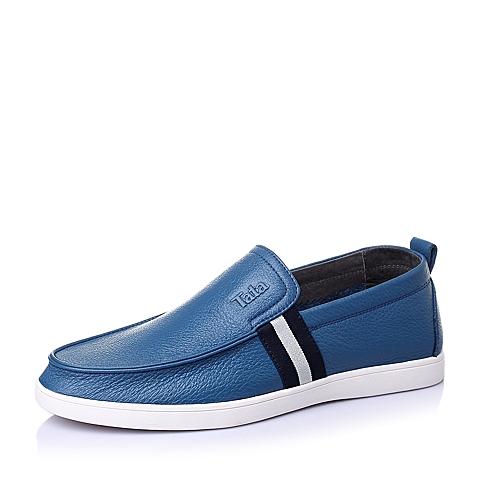Tata/他她夏季蓝色牛皮时尚休闲男单鞋S6331BM6
