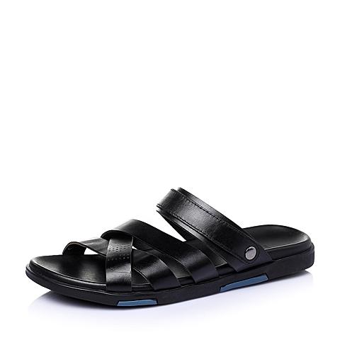 Tata/他她2016夏季黑色牛皮革男皮凉鞋96205BL6