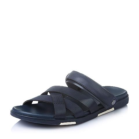 Tata/他她夏季深蓝牛皮革男皮凉鞋96205BL6
