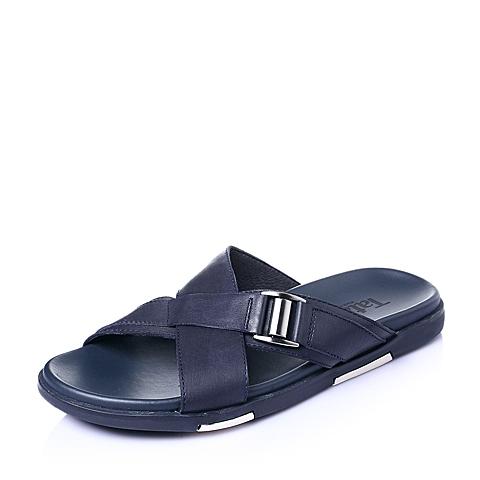 Tata/他她夏季蓝色牛皮舒适休闲简约男皮凉鞋96219BT6