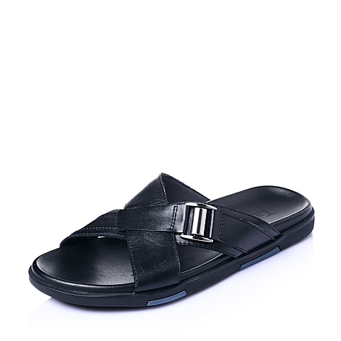 Tata/他她夏季黑色牛皮舒适休闲简约男皮凉鞋96219BT6