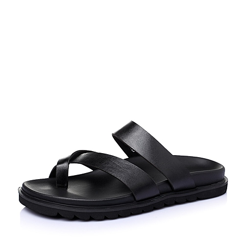 Tata/他她2016夏季黑色牛皮男鞋21507BT6