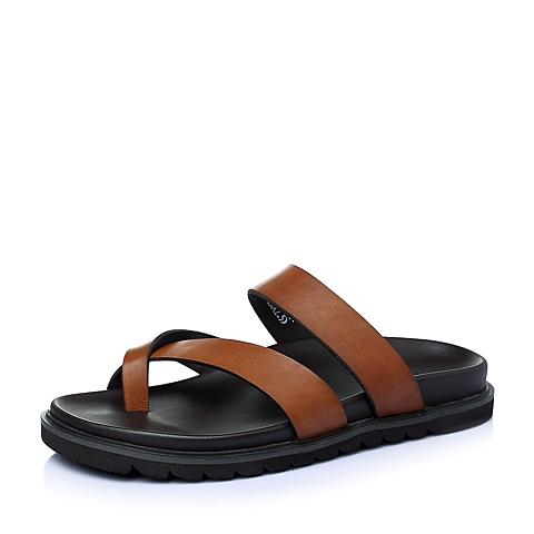 Tata/他她夏季棕色牛皮男鞋21507BT6