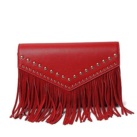 Tata/他她春季专柜同款暗红/红色油蜡人造革女包X1581AX6 专柜1