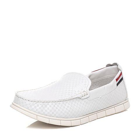 Tata/他她2016年春季专柜同款白色牛皮男休闲鞋F6821AM6