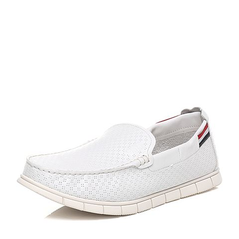 Tata/他她春季专柜同款白色牛皮男休闲鞋F6821AM6