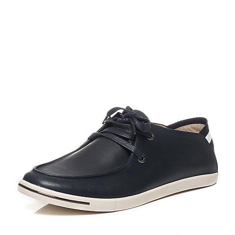 Tata/他她2016春季专柜同款深兰色油蜡牛皮时尚休闲男单鞋F6922AM6