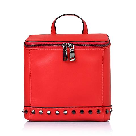 Tata/他她夏季红色细纹牛剖层皮革手包11560BX6