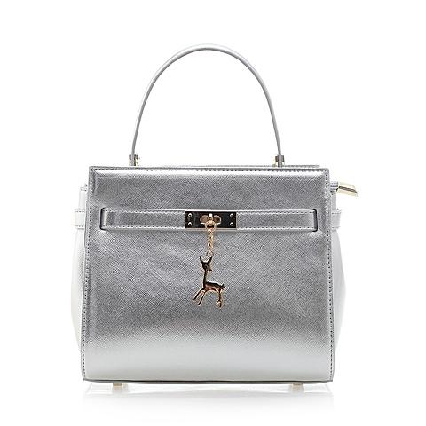 Tata/他她夏季银色人造革手袋女手提斜跨两用包0224LBX6