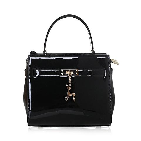 Tata/他她夏季黑色人造革手袋女手提斜跨两用包0224LBX6