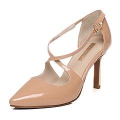 Tata/他她春季专柜同款暗粉漆牛皮女皮凉鞋2H513AK6