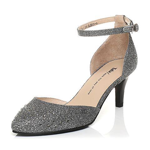 Tata/他她春季专柜同款银黑/银灰亮片布女凉鞋2R2A6AK6
